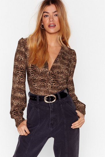Brown Animal Print Cropped Blouse with Button-Down Closure