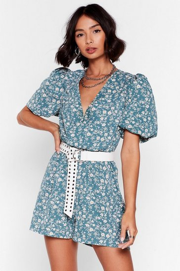 Sage Stalk to Us Floral Puff Sleeve Romper