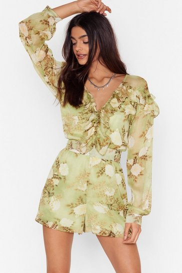 Green When the Light's Grow Out Floral Romper