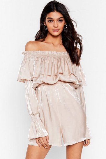 Champagne Heart of Glass Shimmer Off-the-Shoulder Romper