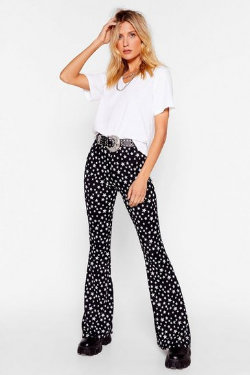 Black Star-ting to Bore Us High-Waisted Flare Trousers