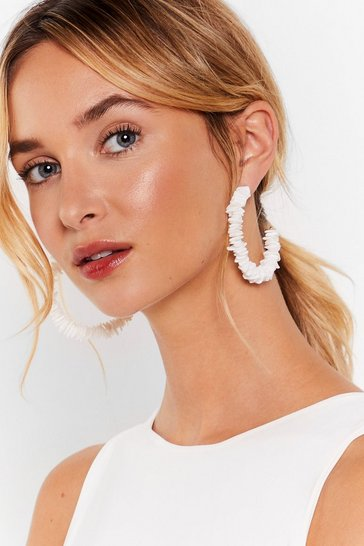 White Textured Acrylic Stone Hoop Earrings
