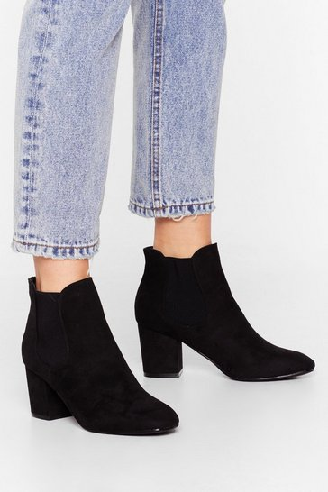 Black Block Their Number Faux Suede Chelsea Boots
