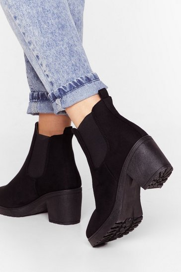 Black One Night Stand Faux Suede Ankle Boot
