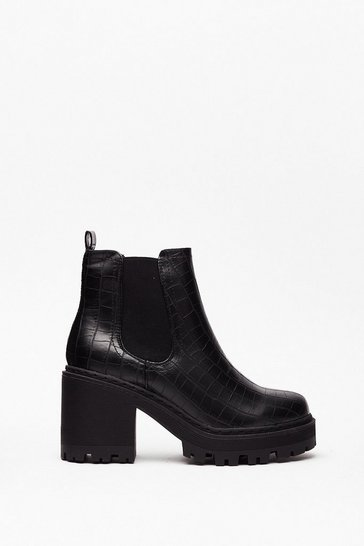 Black Chelsea Dagger Wide Fit Heeled Boot