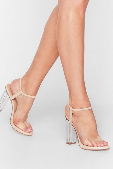 Nude Clear for It Wide Fit Faux Suede Heels