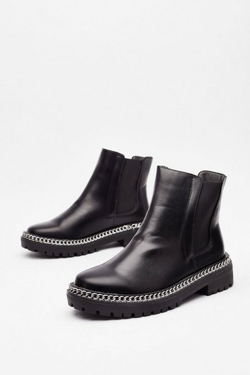 Black Wouldn't Chain-ge a Thing Wide Fit Chelsea Boots