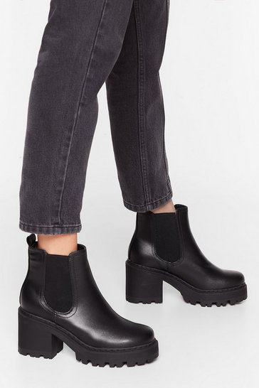 Black Stand With Us Wide Fit Cleated Boots