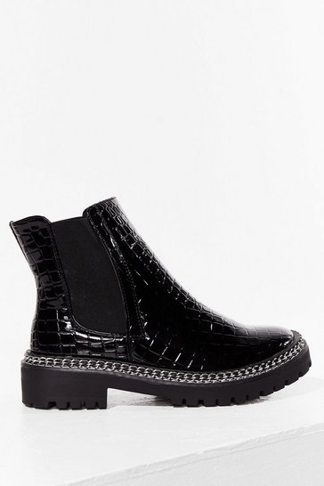 Black Would'nt Chain-ge a Thing Faux Leather Chelsea Boots