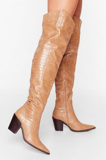 Beige Howdy Partner Western Thigh-High Boots
