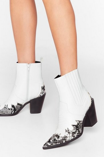 White Snake a Look Faux Leather Western Boots