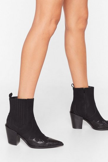 Black West of Both Worlds Faux Suede Snake Boots