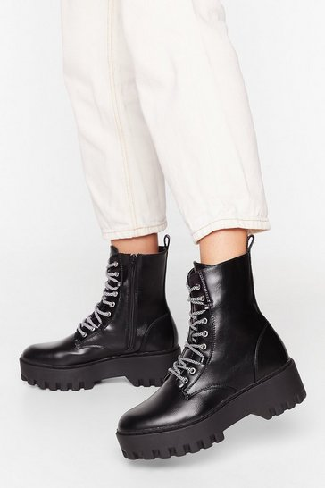 Black She's Lace-Up to Somethin' Cleated Platform Boots