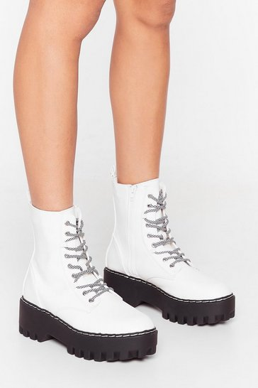 White She's Lace-Up to Somethin' Cleated Platform Boots