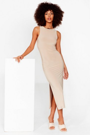 Taupe You've Got a Slinky Side Slit Midi Dress