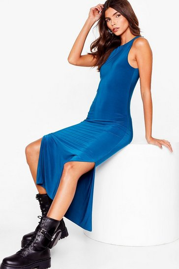 Teal You've Got a Slinky Side Slit Midi Dress
