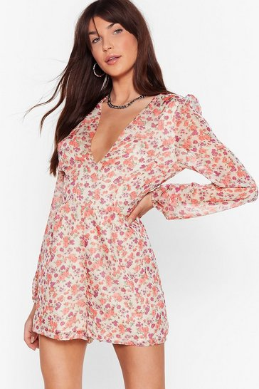 Pink Grow Us the Way V-Neck Floral Playsuit