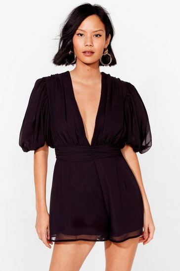 Black Old School Romantic Puff Sleeve Romper