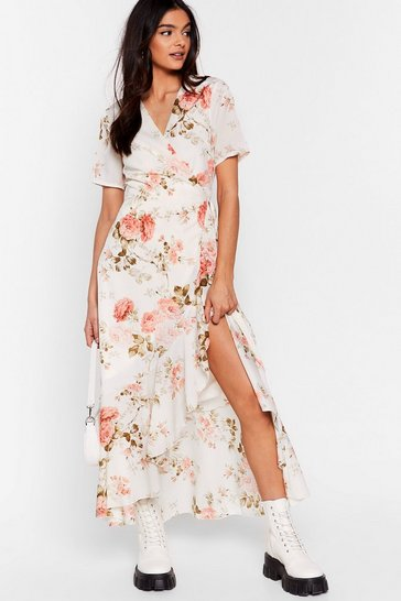 White Flower 'Em With Love Floral Wrap Dress