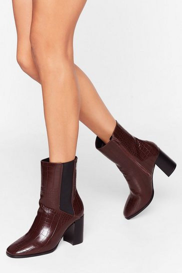 Chocolate Ready to Croc Heeled Chelsea Boots