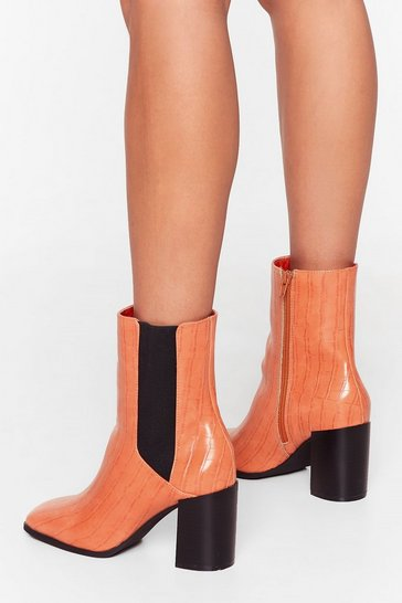 Orange Ready to Croc Heeled Chelsea Boots