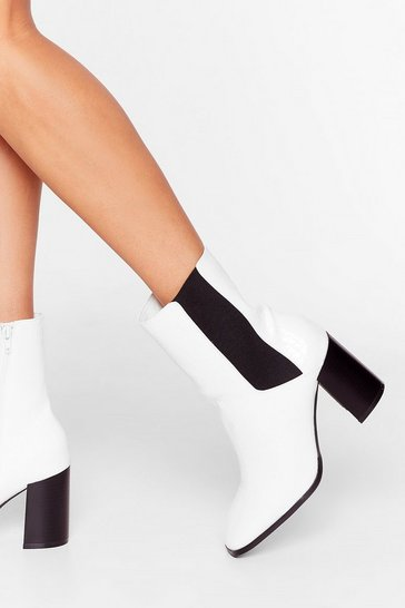 White Step By Sometime Faux Leather Chelsea Boots