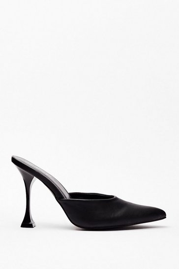 Black You've Made Your Point Faux Leather Stiletto Mules