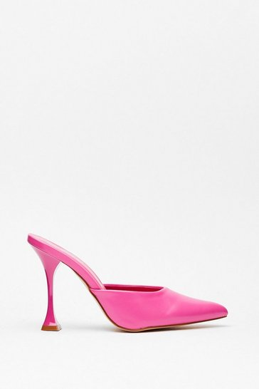 Pink You've Made Your Point Faux Leather Stiletto Mules