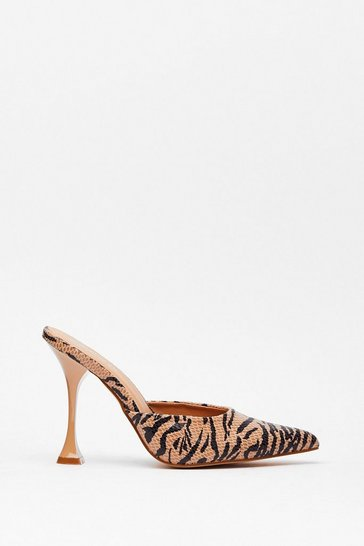 Brown You've Made Your Point Zebra Stiletto Mules