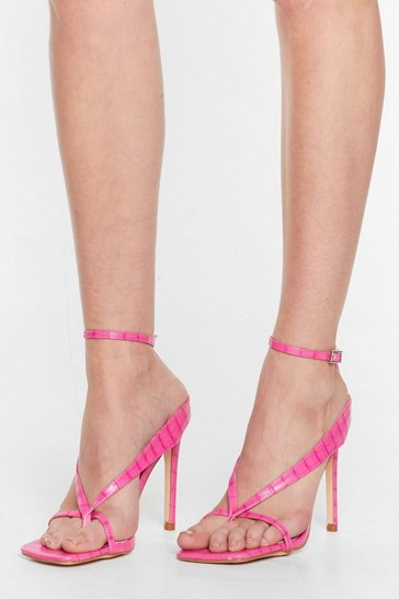 Pink Thong Time Coming Strappy Stiletto Heels