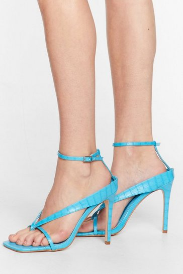 Blue Thong Time Coming Strappy Stiletto Heels