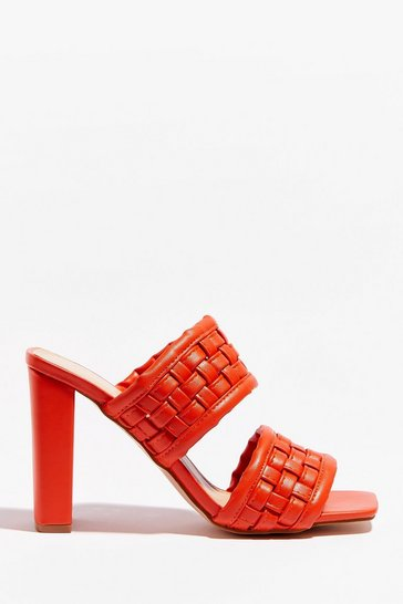 Orange The Woven Moment Faux Leather Heeled Mules