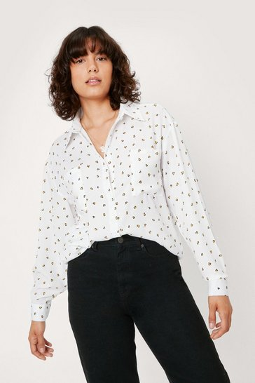 White Sometimes Wild Oversized Leopard Shirt