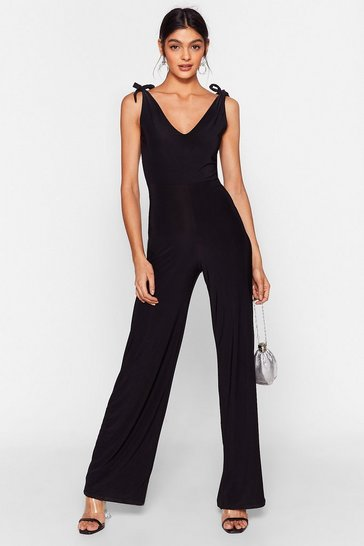 Black It's Worth a Tie Plunging Wide-Leg Jumpsuit