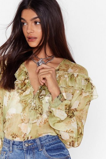 Pistachio When the Light's Grow Out Floral Ruffle Blouse