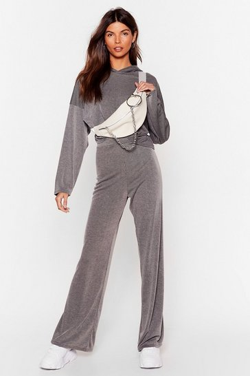 Grey Team Talk Cropped Hoodie and Wide-Leg Pants Set