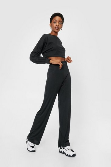 Black Ribbed Crop Top and Pants Co-ord Set