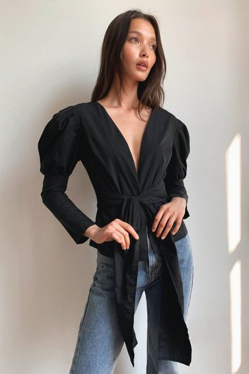 Black Stop Shirting With Me Puff Sleeve Bow Shirt