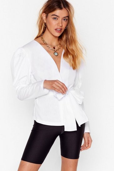 White Stop Shirting With Me Puff Sleeve Bow Shirt