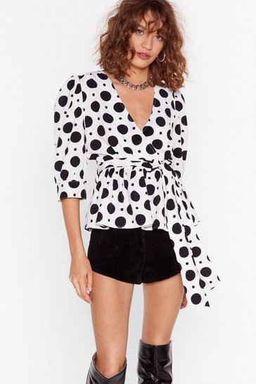 White Polka Dot Puff Sleeve Blouse with Wrap Design