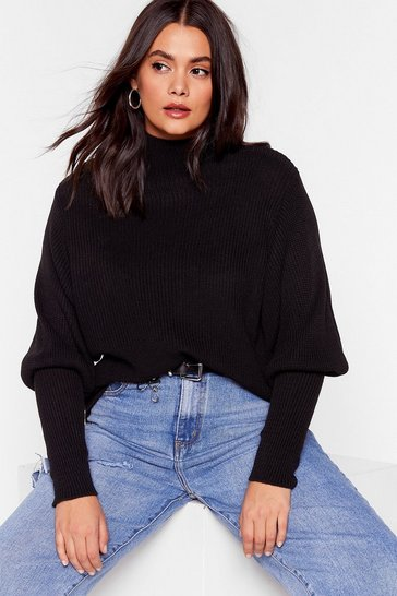 Black Padded Shoulder and Wiser Plus Jumper