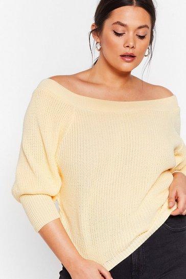 Lemon Off the Radar Plus Off-the-Shoulder Sweater