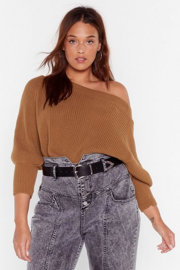 Taupe Off the Radar Plus Off-the-Shoulder Sweater