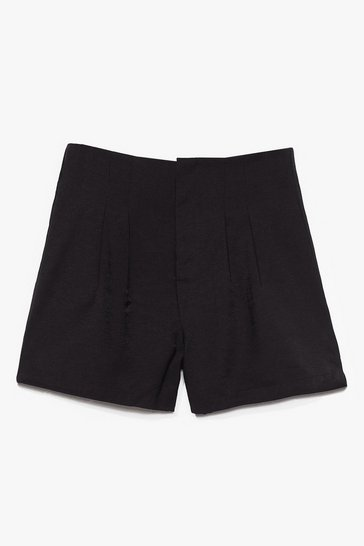 Black Save a Pleat for Me High-Waisted Shorts