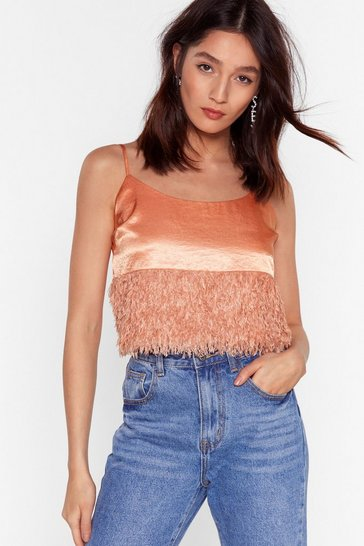 Apricot Feather Look Trim Satin Cami with Adjustable Spagghetti Straps