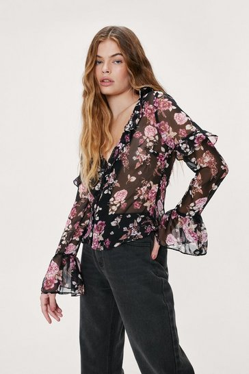 Black Floral Floaty Blouse with Ruffle
