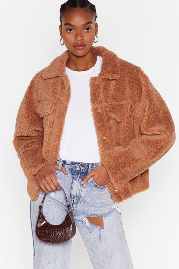 Camel Those Faux Fur the Days Shirt Jacket