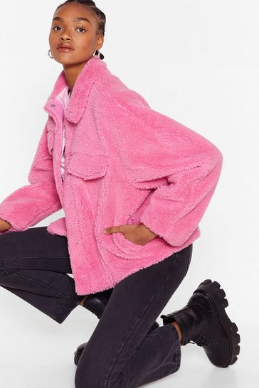 Pink Those Faux Fur the Days Shirt Jacket