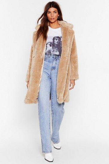 Beige Waiting Fur Tonight Faux Fur Longline Coat
