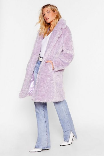 Lilac Waiting Fur Tonight Faux Fur Longline Coat